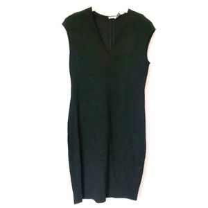 Vince Ponte V-Neck Bib Sheath Dress black